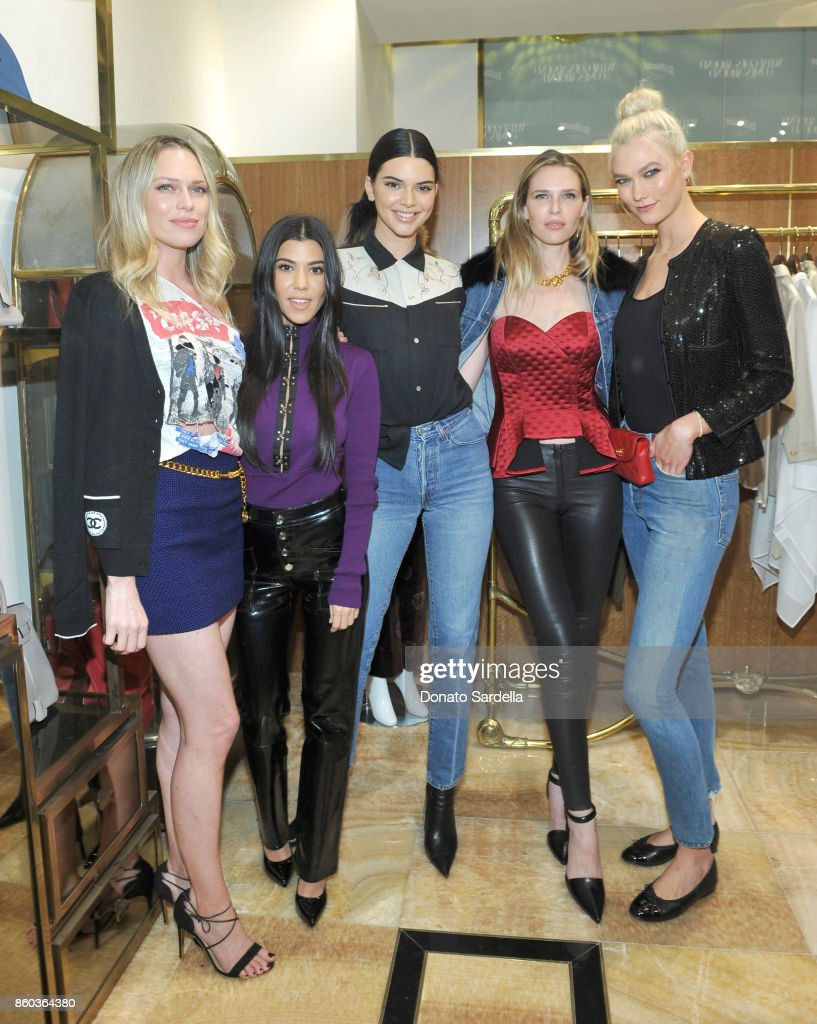Erin Foster, Kourtney Kardashian, Kendall Jenner, Sara Foster and Karlie Kloss at What Goes Around Comes Around Beverly Hills Anniversary on October 11, 2017 in Beverly Hills, California.
