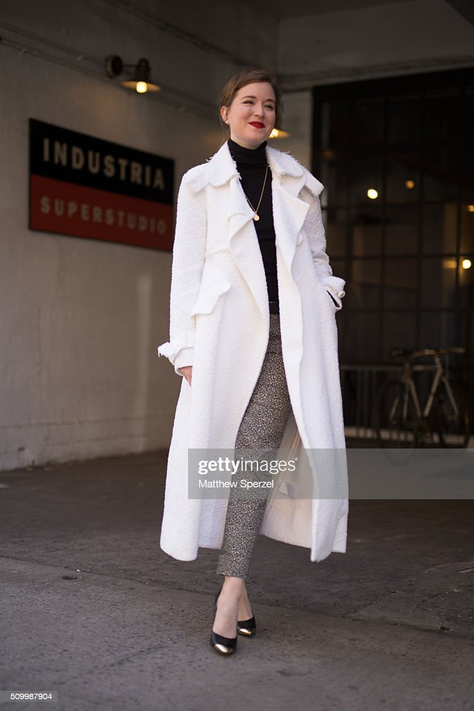 Erin Framel is seen at Jill Stuart wearing Ellery coat, Lila Rose pants, Sigerson Morrison shoes, and Chanel bag during New York Fashion Week: Women's Fall/Winter 2016 on February 13, 2016 in New York City.