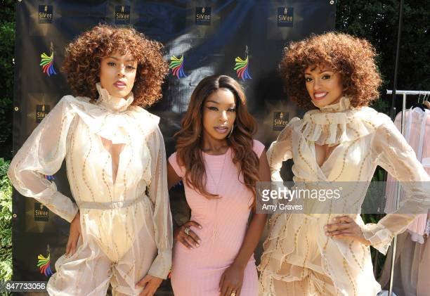 Erin Green Porscha Coleman and Desiree Green attend the Charmaine Blake Ultra Gold EMMY Gifting Suite at a private residence on September 15 2017 in...