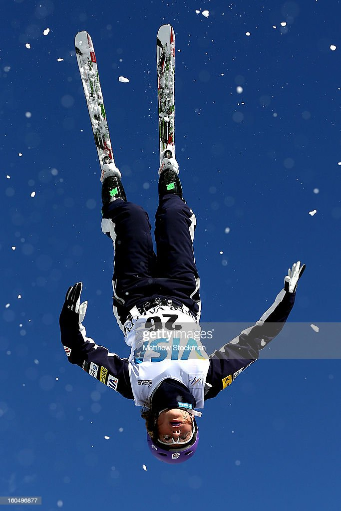 Erin Griss #26 jumps while training for the Ladies Aerials during the Visa Freestyle International at Deer Valley on February 1, 2013 in Park City, Utah.