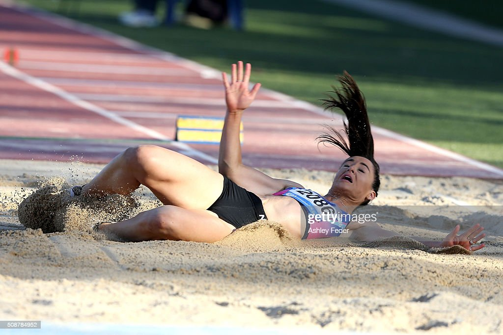 Erin Guy of New South Wales competes in the womens long jump during the IPC Athletics Grand Prix on February 6, 2016 in Canberra, Australia.