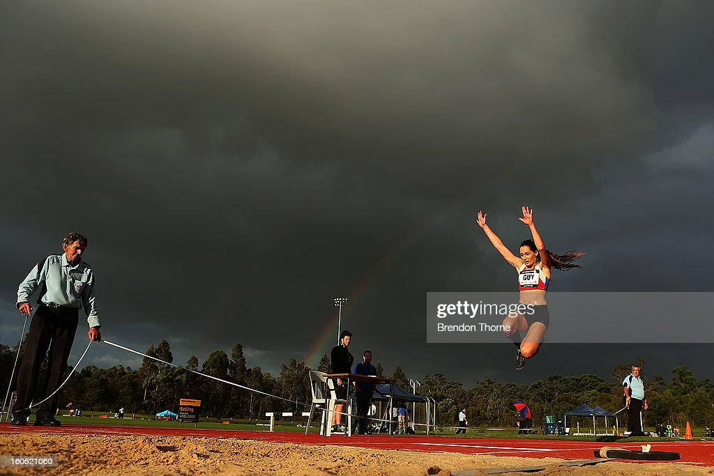 Erin Guy of NSW competes in the Women's Triple Jump during the Hunter Track Classic on February 2, 2013 in Newcastle, Australia.