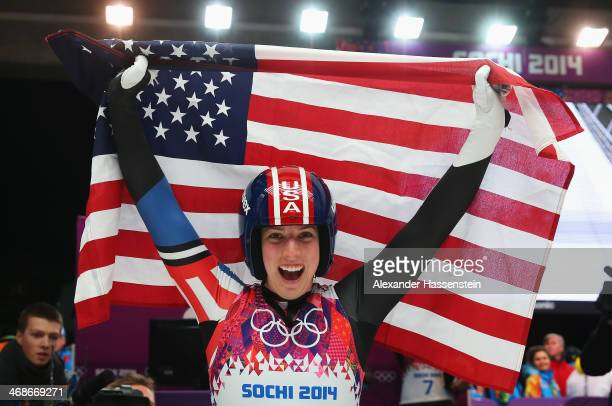 Erin Hamlin of the United States celebrates winning bronze medal in the Women's Luge Singles on Day 4 of the Sochi 2014 Winter Olympics at Sliding...