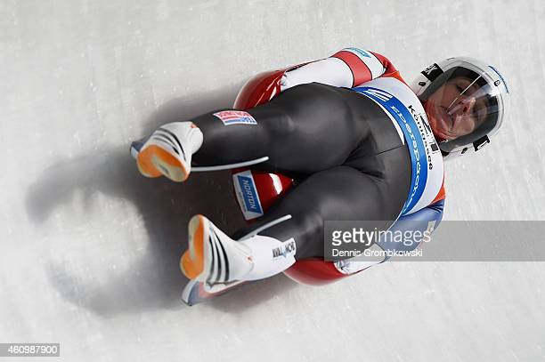 Erin Hamlin of the United States competes in the 1st run of the Women's FIL Luge World Cup Koenigssee at Deutsche Post Eisarena on January 3 2015 in...