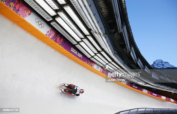 Erin Hamlin of the United States in action during the Women's Luge Singles on Day 4 of the Sochi 2014 Winter Olympics at Sliding Center Sanki on...