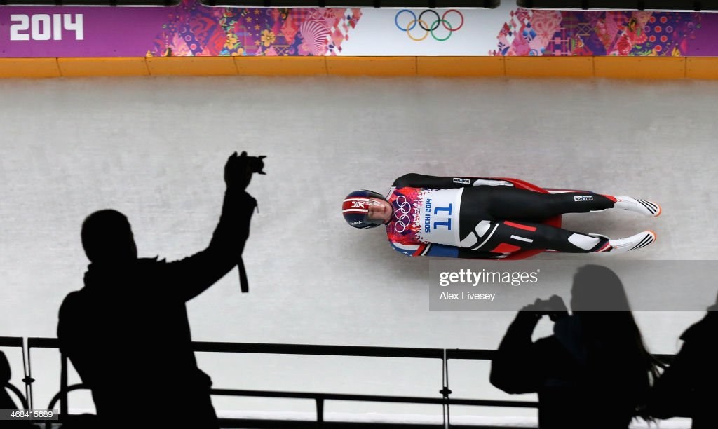 Erin Hamlin of USA in action during the second run of the Women's Luge Singles on Day 3 of the Sochi 2014 Winter Olympics at Sliding Center Sanki on February 10, 2014 in Sochi, Russia.