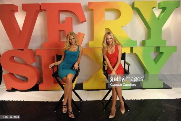 Erin Heatherton and Candice Swanepoel attend the first day of the Very Sexy Jet Tour at Victoria's Secret in Aventura Mall on February 28 2012 in...