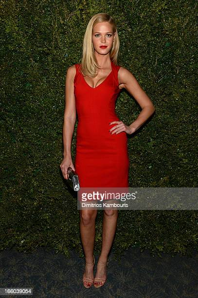Erin Heatherton attends a dinner in honor of Halle Berry as she joins Michael Kors and the United Nations World Food Programme to help fight world...