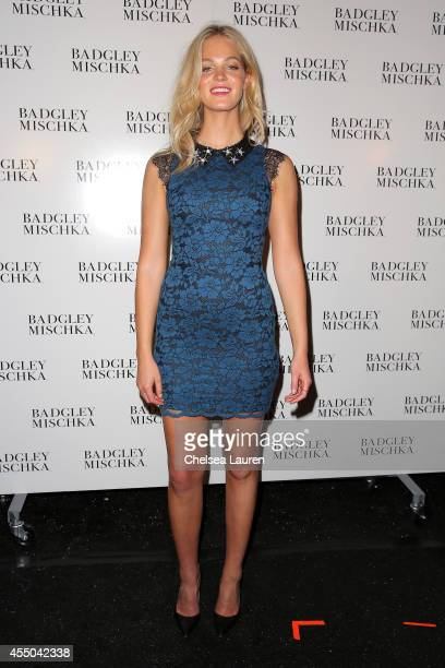 Erin Heatherton backstage at the Badgley Mischka fashion show during MercedesBenz Fashion Week Spring 2015 at The Theatre at Lincoln Center on...