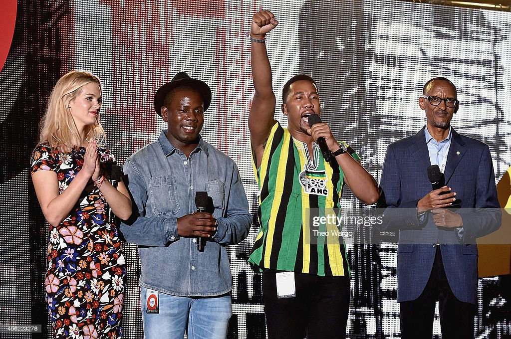 Erin Heatherton, Kweku Mandela, Ndaba Mandela and Paul Kagame speak onstage at the 2014 Global Citizen Festival to end extreme poverty by 2030 in Central Park on September 27, 2014 in New York City.