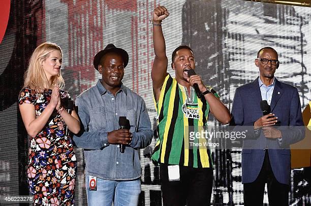 Erin Heatherton Kweku Mandela Ndaba Mandela and Paul Kagame speak onstage at the 2014 Global Citizen Festival to end extreme poverty by 2030 in...