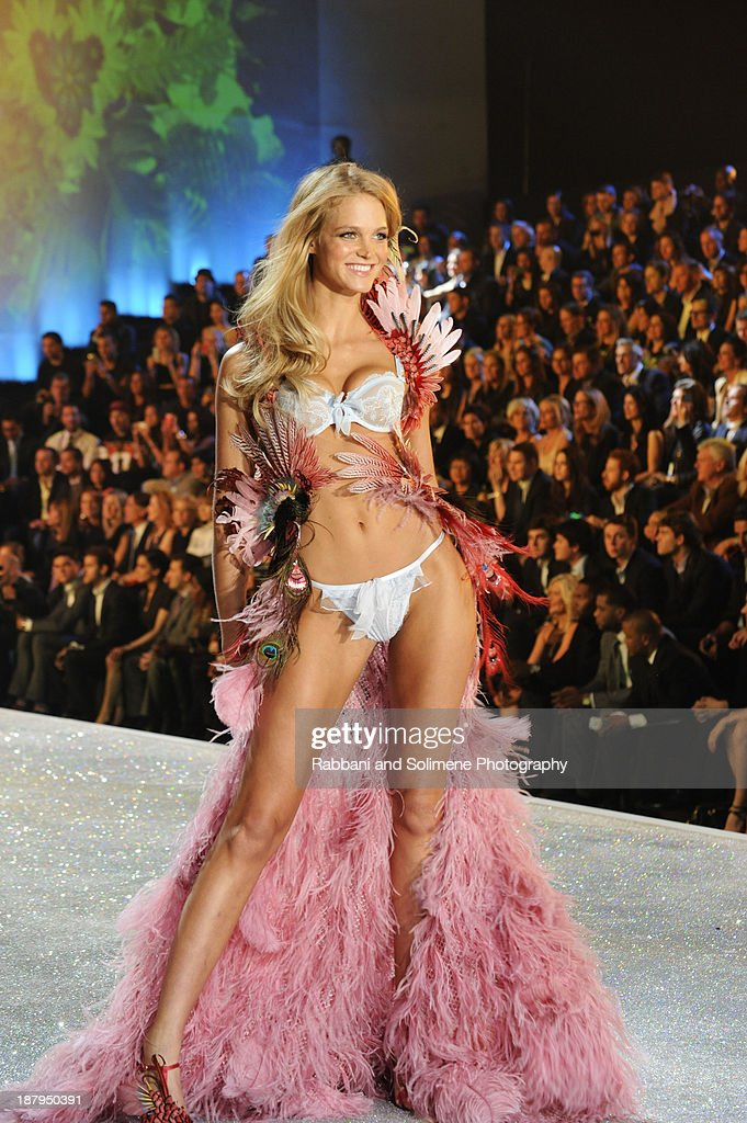 Erin Heatherton walks in the 2013 Victoria's Secret Fashion Show at Lexington Avenue Armory on November 13, 2013 in New York City.