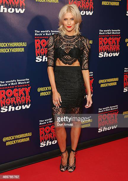 Erin Holland arrives at the opening night of the Rocky Horror Picture Show at the Lyric Theatre Star City on April 15 2015 in Sydney Australia