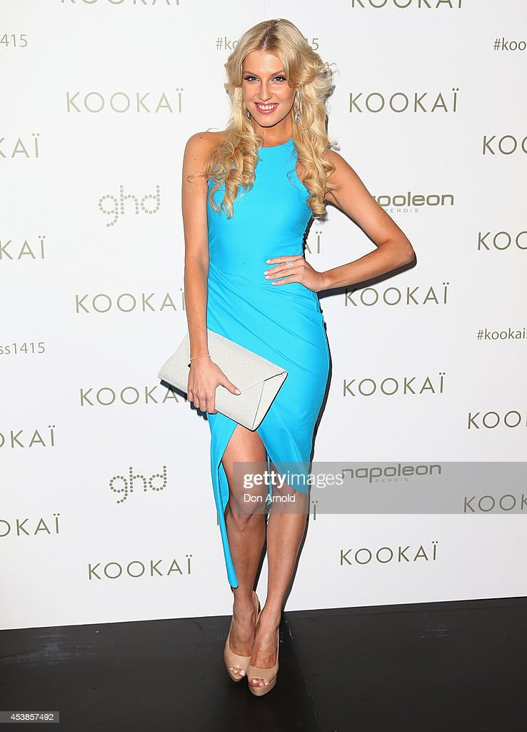 Erin Holland poses at Kookai Fashion Show SS14/15 at Carriageworks on August 20, 2014 in Sydney, Australia.