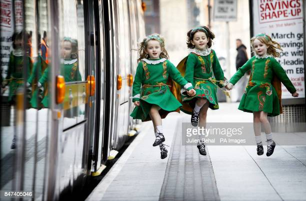 Erin Kirby seven Eve Kirby and Saoirse Kenny both six years old at the Luas stop on StStephens Green Dublin for the photocall to promote the...