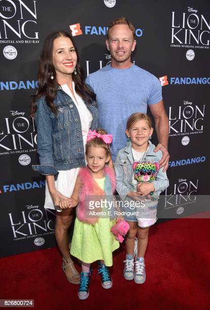 Erin Kristine Ludwig actor Ian Ziering with Penna Mae Ziering and Mia Loren Ziering at The Lion King SingAlong at The Greek Theatre in Los Angeles in...
