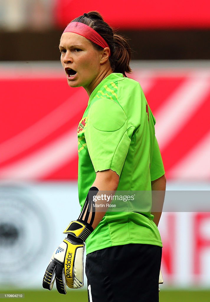 <a gi-track='captionPersonalityLinkClicked' href=/galleries/search?phrase=Erin+McLeod&family=editorial&specificpeople=825048 ng-click='$event.stopPropagation()'>Erin McLeod</a>, goalkeeper of Canada looks on during the Women's International Friendly match between Germany and Canada at Benteler Arena on June 19, 2013 in Paderborn, Germany.