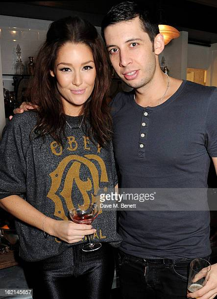Erin McNaught and Example attend as Nick Grimshaw hosts his first annual award season dinner at Hix in association with Philips Sound on February 19...