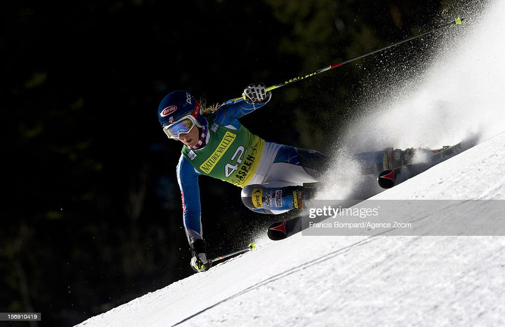 Erin Mielzynski of Canada competes during the Audi FIS Alpine Ski World Cup Women's Giant Slalom on November 24, 2012 in Aspen, Colorado.