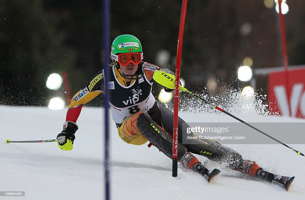 Erin Mielzynski of Canada competes during the Audi FIS Alpine Ski World Cup Women's Slalom on January 4, 2013 in Zagreb, Croatia.