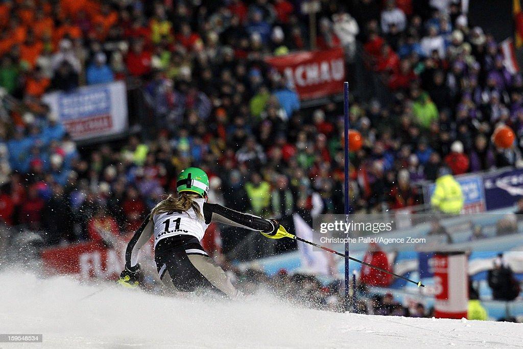 Erin Mielzynski of Canada competes during the Audi FIS Alpine Ski World Cup Women's Slalom on January 15, 2013 in Flachau, Austria.