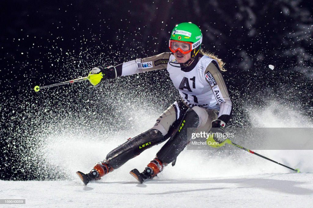 Erin Mielzynski of Canada races down the course whilst competing in the Audi FIS Alpine Ski World Cup Slalom race on January 15, 2013 in Flachau, Austria.