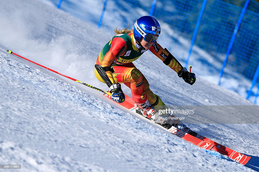 <a gi-track='captionPersonalityLinkClicked' href=/galleries/search?phrase=Erin+Mielzynski&family=editorial&specificpeople=6544771 ng-click='$event.stopPropagation()'>Erin Mielzynski</a> of Canada skis in the ladies giant slalom during the 2014 Audi FIS Ski World Cup at the Nature Valley Aspen Winternational at Aspen Mountain on November 29, 2014 in Aspen, Colorado.