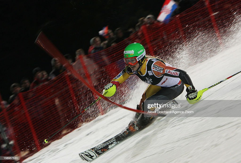 Erin Mielzynski of Canada takes 3rd place competes during the Audi FIS Alpine Ski World Cup Women's Slalom on January 4, 2013 in Zagreb, Croatia.