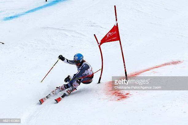 Erin Mielzynski of Team Canada wins a silver medal during the FIS Alpine World Ski Championships Nations Team Event on February 10 2015 in Beaver...