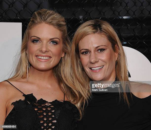 Erin Molan and Erica Berchtold arrive ahead of the opening of Rebels new flagship 'accelerate' store at Westfield Bondi Junction on November 25 2015...