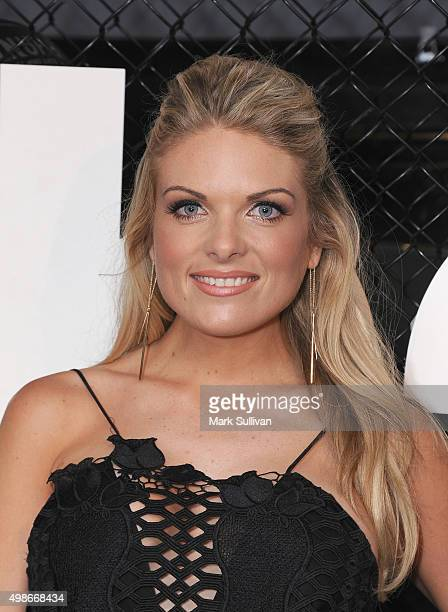Erin Molan arrives ahead of the opening of Rebels new flagship 'accelerate' store at Westfield Bondi Junction on November 25 2015 in Sydney Australia
