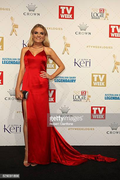 Erin Molan arrives at the 58th Annual Logie Awards at Crown Palladium on May 8 2016 in Melbourne Australia