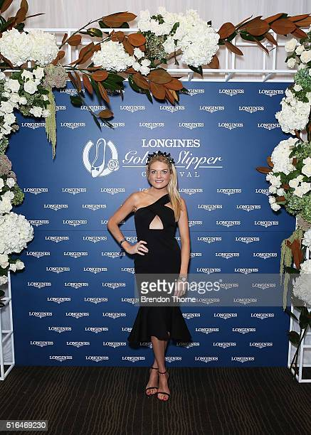 Erin Molan poses during Golden Slipper Day at Rosehill Gardens on March 19 2016 in Sydney Australia