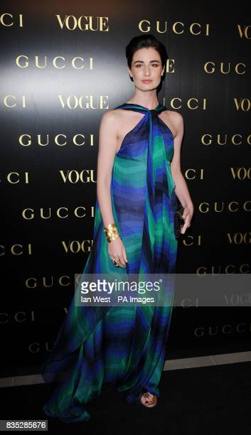 Erin O'Connor arrives at a dinner in honour of Frida Giannini Creative Director of Gucci hsted by Alexandra Shulman editor of British Vogue and held...