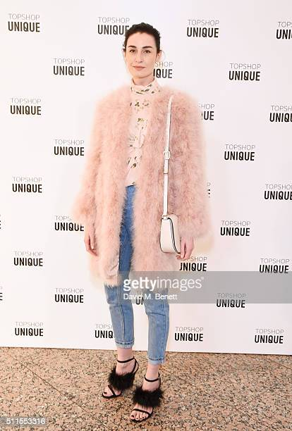 Erin O'Connor arrives at the Topshop Unique LFW AW16 show at The Tate Britain on February 21 2016 in London England