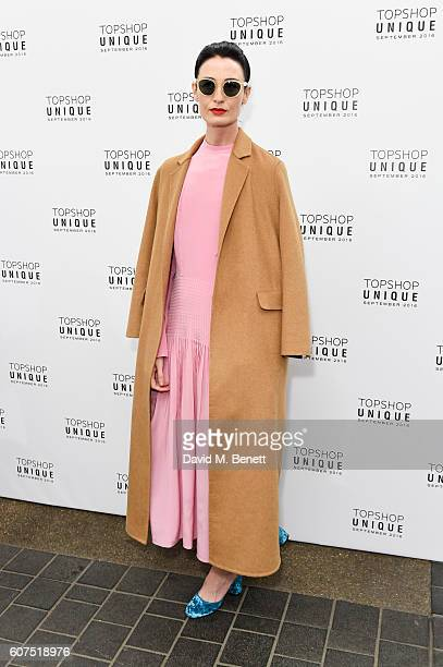 Erin O'Connor arrives at the Topshop Unique show during London Fashion Week Spring/Summer Collections 2017 at Old Spitalfields Market on September 18...