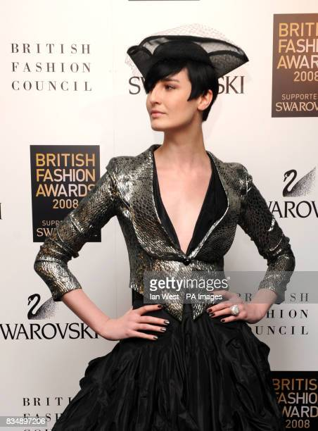 Erin O'Connor arrives for the 2008 British Fashion Awards at the Royal Horticultural Hall 80 Vincent Square London