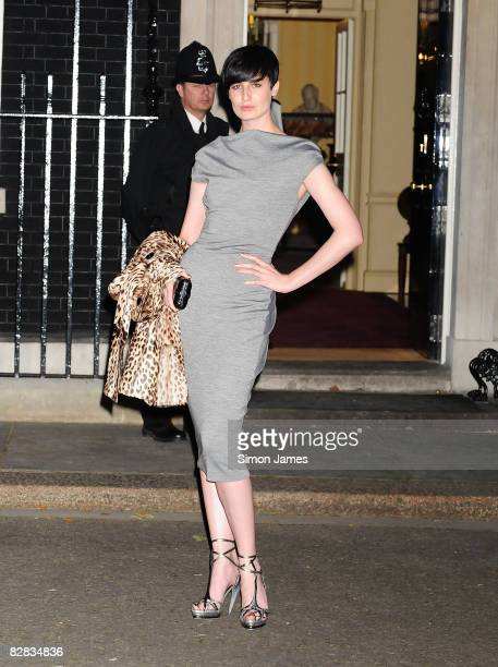 Erin O'Connor attends 25th Anniversary Party For London Fashion Week at 10 Downing Street on September 15 2008 in London England