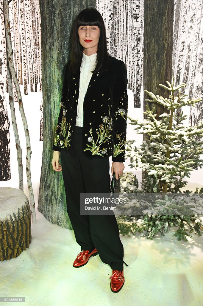 Erin O'Connor attends Claridge's Christmas Tree 2016 Party, with tree designed by Sir Jony Ive and Marc Newson, at Claridge's Hotel on November 19, 2016 in London, England.