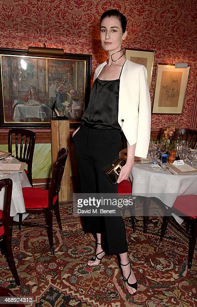 Erin O'Connor attends mytheresacom x Francesco Russo dinner at Harrys Bar on April 8 2015 in London England