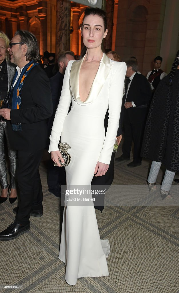 Erin O'Connor attends the Alexander McQueen Savage Beauty Fashion Gala at the VA presented by American Express and Kering on March 12 2015 in London...