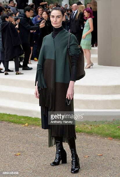 Erin O'Connor attends the Burberry Prorsum show during London Fashion Week Spring/Summer 2016/17 on September 21 2015 in London England