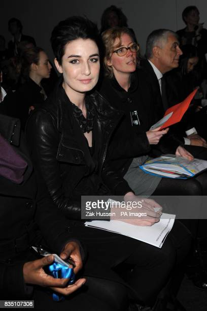 Erin O'Connor attends the Central St Martins Catwalk Show at the BFC tent in South Kensington as part of London Fashion week