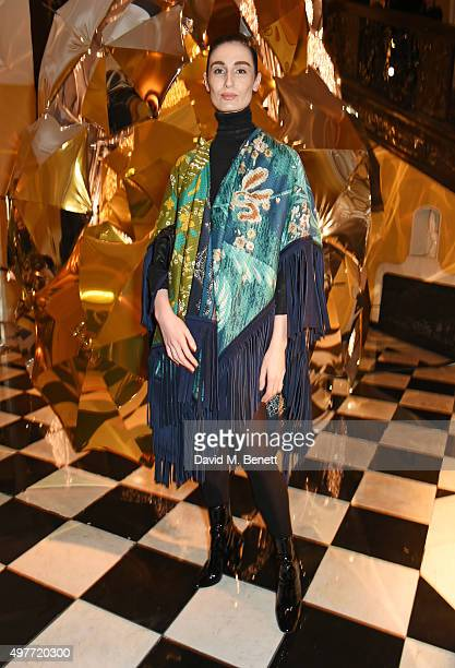Erin O'Connor attends the Claridge's Christmas Tree Party 2015 designed by Christopher Bailey for Burberry at Claridge's Hotel on November 18 2015 in...