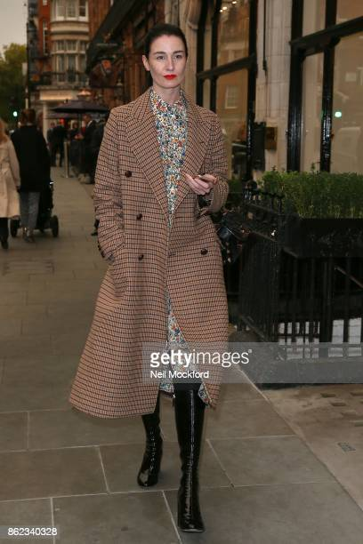 Erin O'Connor celebrates David Walliams receiving an OBE with a lunch with at Scott's restaurant in Mayfair sighting on October 17 2017 in London...