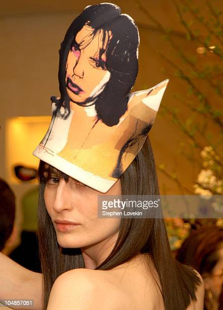 Erin O'Connor in a Philip Treacy hat during Philip Treacy Shows His Spring 2003 Hat Collection at Bergdorf's at Bergdorf Goodman in New York City NY...