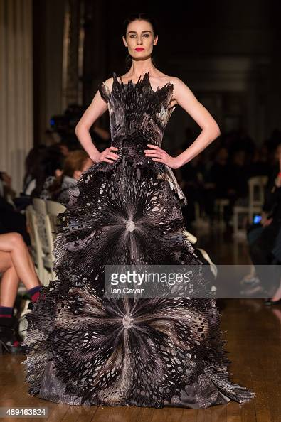 Erin O'Connor walks the runway at the GILES show during London Fashion Week Spring/Summer 2016/17 on September 21 2015 in London England