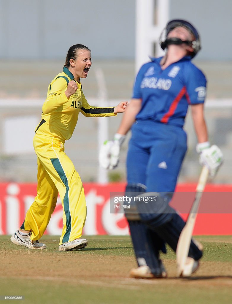 Erin Osborne of Australia celebrates the wicket of Anya Shrubsole of England during the super six match between England and Australia held at the CCI (Cricket Club of India) on February 8, 2013 in Mumbai, India.