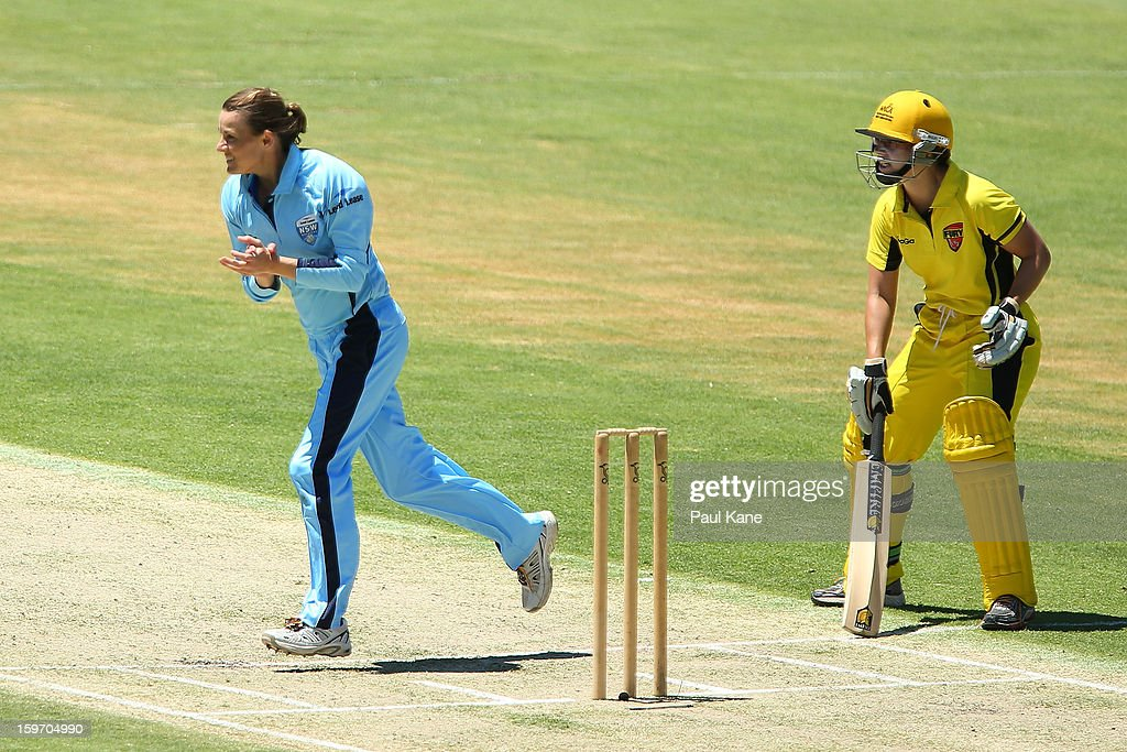 Erin Osborne of the Breakers celebrates the wicket of Nicole Bolton of the Fury during the women's Twenty20 final match between the NSW Breakers and the Western Australia Fury at WACA on January 19, 2013 in Perth, Australia.