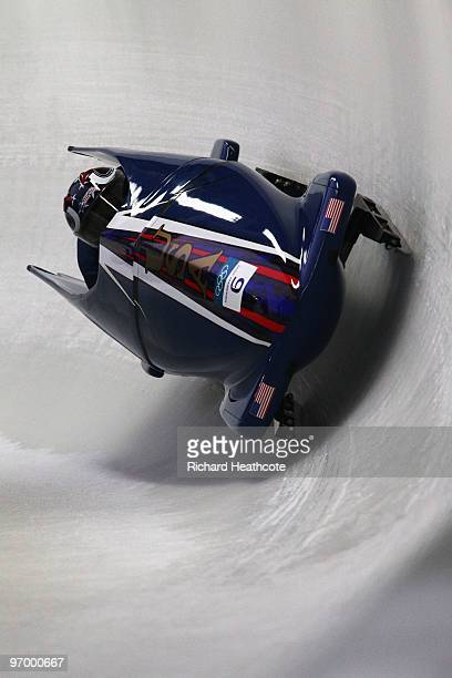 Erin Pac and Elana Meyers of the United States compete in United States 2 during the Women's Bobsleigh Heat 1 on day 12 of the 2010 Vancouver Winter...